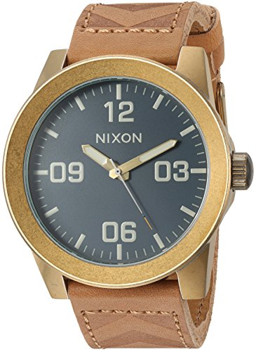 Nixon Men's Corporal Stainless Steel Japanese-Quartz Watch with Leather-Synthetic Strap, Brown, 23 (Model: A2432731) ()