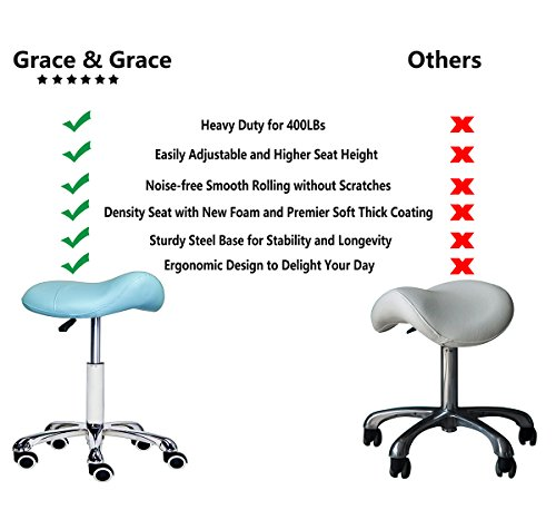 Grace & Grace Professional Saddle Stool Series Hydraulic Swivel Comfortable Ergonomic with Heavy Duty Metal Base for Clinic Dentist Spa Massage Salons Studio (Green)
