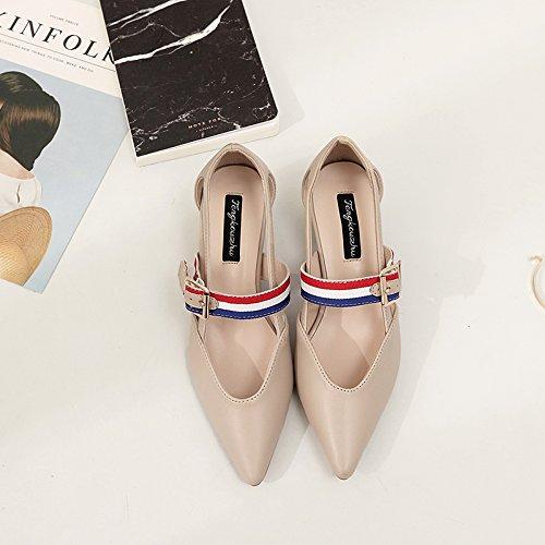 Xue Qiqi Court Schuhe Schuhe Schuhe Scharf-hochhackige Sandalen mit Frauen in der gemischten farbigen Seite Luft niedrige Schuhe Damenschuhe mit dicken Schnalle Schuhe 35 Aprikose 5dc268