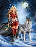 Fantasy Winter Warrior Princess and Wolf Picture, Print Reproduced upon Quality 350gsm 100% Cotton Canvas (A3 (16x11 inch - 42x29cm))