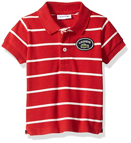 Lacoste Little Boy Short Sleeve Striped Heritage Badge Pique Polo, Lighthouse red/Flour, 1