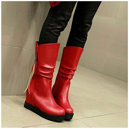 TAOFFEN Women Classical Autumn Winter Wedges High Heel Shoes Mid High Boots Red j3oXSZzh