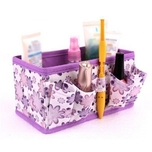SODIAL(R) Newest Makeup Cosmetic Storage Box Bag Bright Organiser Foldable Makeup Stationary Container (Purple)