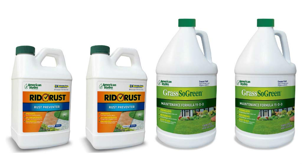 Pro Products Pack Rid O' Rust Stain Preventer and GrassSoGreen Liquid Fertilizer, 4 Bottles Total by Pro Products