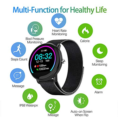 SSANGYONG Smart Watch Activity Tracker with 1.3 Touch Screen Fitness Tracker with Heart Rate Monitor IP68 Waterproof Pedometer Smartwatch with Sleep Monitor Step Counter for Women and Men