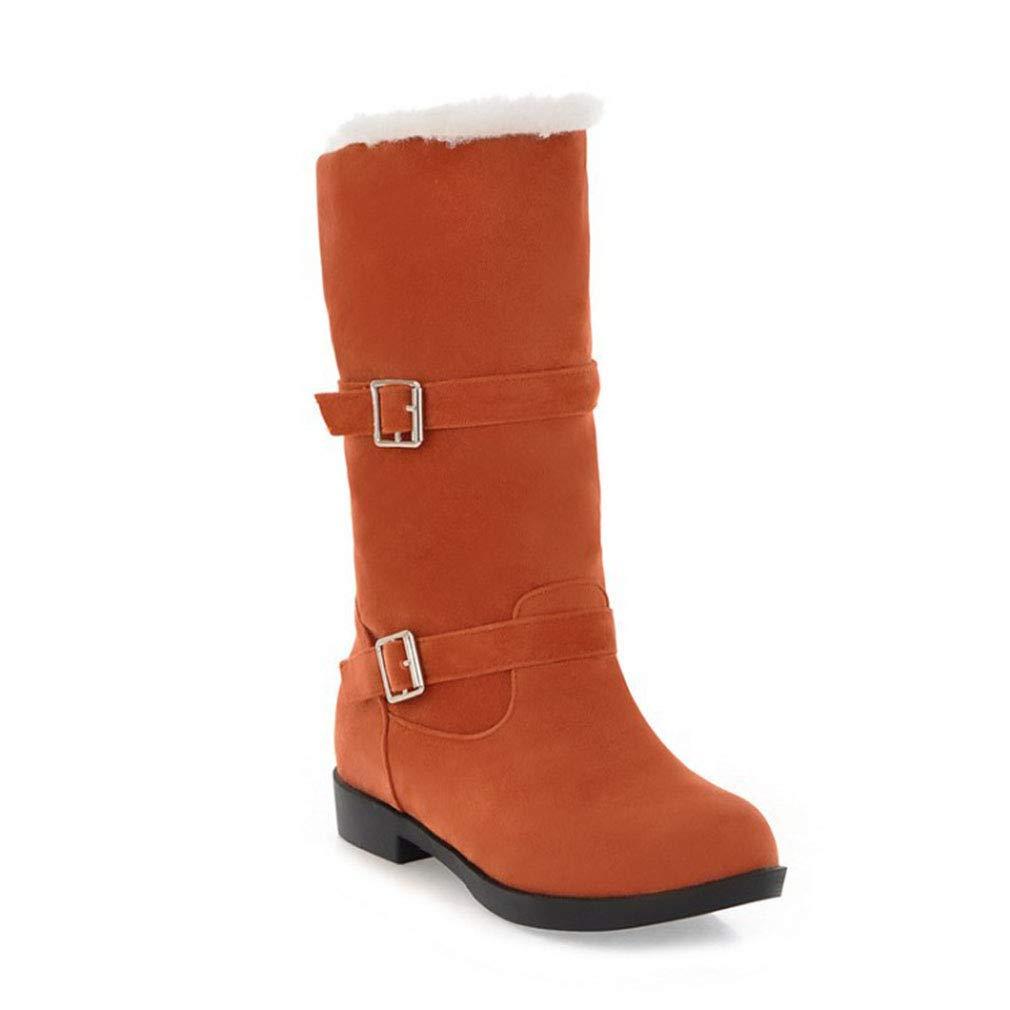 Hy Damen Stiefel Winter Wildleder Plus Cashmere Warm Schnee Stiefel Stiefel/Damen Gürtelschnalle Slip-Ons Stiefelies/Ski Schuhe Wanderschuhe (Farbe : EIN, Größe : 35)