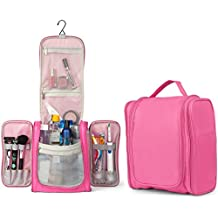 TravelMore Large Hanging Toiletry Bag Travel Cosmetic Kit - Large Essentials Organizer - Sturdy Hook Makeup Bag for Woman - Heavy Duty Waterproof (Pink)