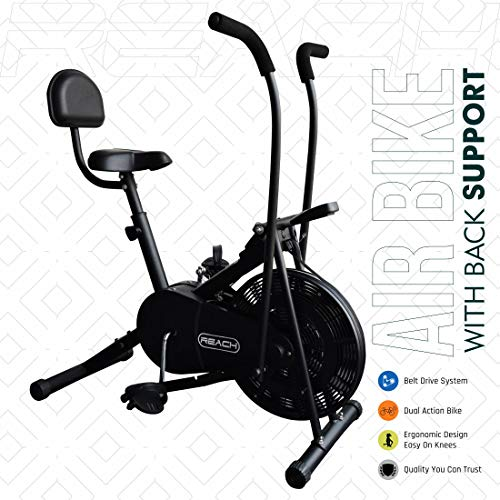 LD Reach Ab 110 Fitness Air Bike with Moving Stationary Handle Adjustment with Back Support