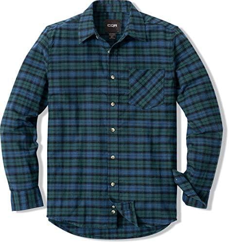 軽量フランネルシャツ 長袖 チェックシャツ レギュラーフィット キャンプ アウトドア 登山 (1サイズダウン)