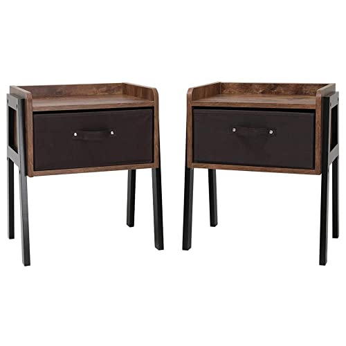 IWELL Rustic Nightstand Set of 2, Wooden Small Side Table with 1 Removable Fabric Drawer for Small Spaces, End Table for Bedroom Living Room, Solid Wood Legs BZX006F2