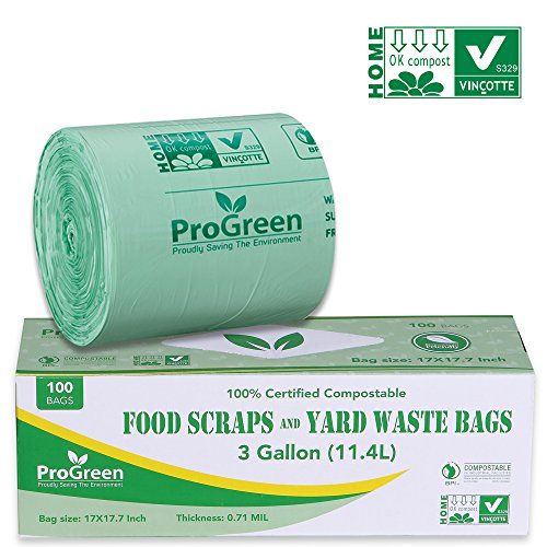 ProGreen 100% Compostable Bags 3 Gallon, Extra Thick 0.71 Mil, 100 Count, Small Kitchen Trash Bags, Food Scraps Yard Waste Bags, Biodegradable ASTM D6400 BPI And VINCOTTE Certified ()