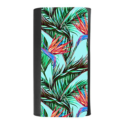 (Tropical flowers, palm leaves, jungle leaves, bird of paradise flower) women's Patterned Leather Buckle Trifold Wallet Bag Pouch Holster With Credit Card Holder insurance for smartphones