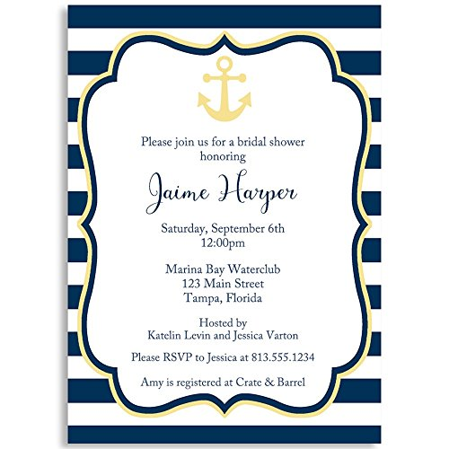 Anchored In Love Bridal Shower Invitation, Navy, Yellow, White, Nautical, Stripes, Wedding, Wedding Shower, Bridal Shower, Anchor, Set of 10 Printed Invites with Envelopes -