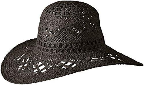 Black One Size /'ale by alessandra Womens Floresta Intricate Weave Toyo Boho Floppy Hat