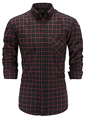 Emiqude Men's 100% Flannel Cotton Slim Fit Long Sleeve Button Down Plaid Dress Shirt