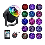Disco Lights, AVEKI Disco Ball Stage Lights 15 Color Modes Magic Ball Lamp Rotating Party Light Stage Crystal Lamp Sound Activated Remote Control for Holidays Party KTV Bar Xmas (15 Circle)