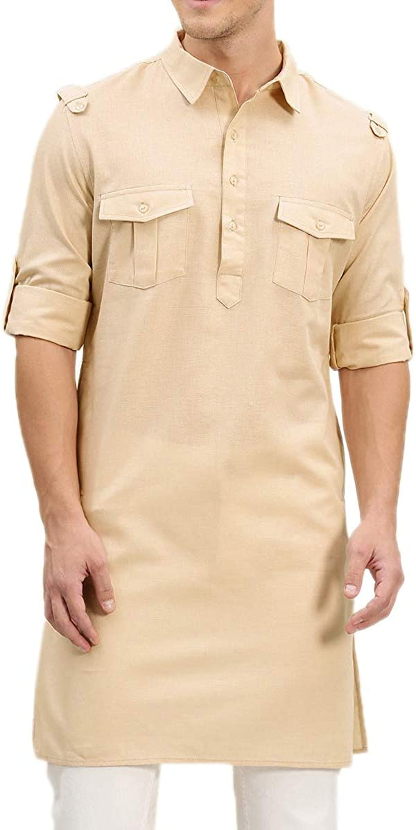 WINTAGE Men's Cotton Silk Festive and Casual Kurta Pajama Pyjama : Beige