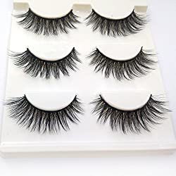 Trcoveric 3D Fake Eyelashes Makeup Hand-made Dramatic Thick Crisscross Deluxe False Lashes Black Nature Fluffy Long Soft Reusable 3 Pair Pack