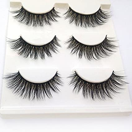 c4eaca0a073 Buy Trcoveric 3D Fake Eyelashes Makeup Hand-made Dramatic Thick Crisscross  Deluxe False Lashes Black Nature Fluffy Long Soft Reusable 3 Pair Pack  Online at ...
