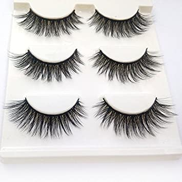 eda3a6a96c8 Amazon.com : Trcoveric 3D Fake Eyelashes Makeup Hand-made Dramatic Thick  Crisscross Deluxe False Lashes Black Nature Fluffy Long Soft Reusable 3  Pair Pack : ...