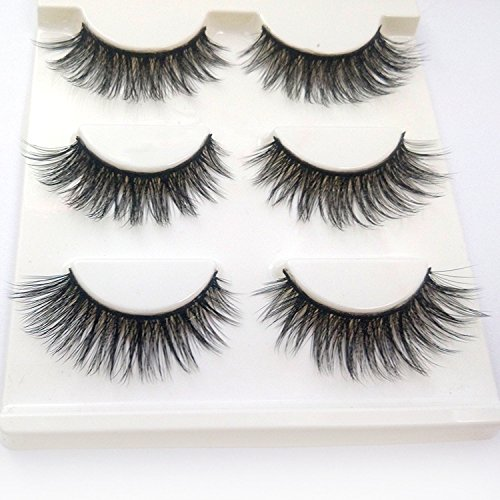 Trcoveric 3D Fake Eyelashes Makeup Hand-made Dramatic Thick Crisscross Deluxe False Lashes Black Nature Fluffy Long Soft Reusable 3 Pair Pack ()