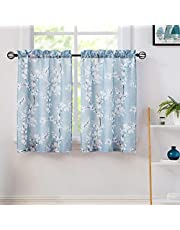 """Blossom Blue-White Kitchen Tier Curtains for Bathroom Floral Small Tier Curtains 24"""" Light Filtering Café Curtain Set, 2 Panels"""