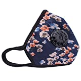 Muryobao Anti Pollution Mask Military Grade N99 Respirator Mask with Valve Replacement Filter Washable Cotton Anti Dust Mouth Mask for Men Women Blue Flower,One Size