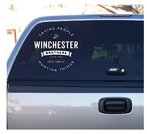 Supernatural Winchester Brothers Halloween Horror White Vinyl Decal Bumper Computer Sticker Cling Scary -