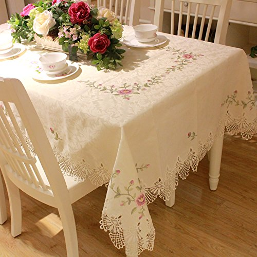 FADFAY Lace Tablecloth 100% Handmade Embroidery Table Cloth American Rustic Floral Table Cover