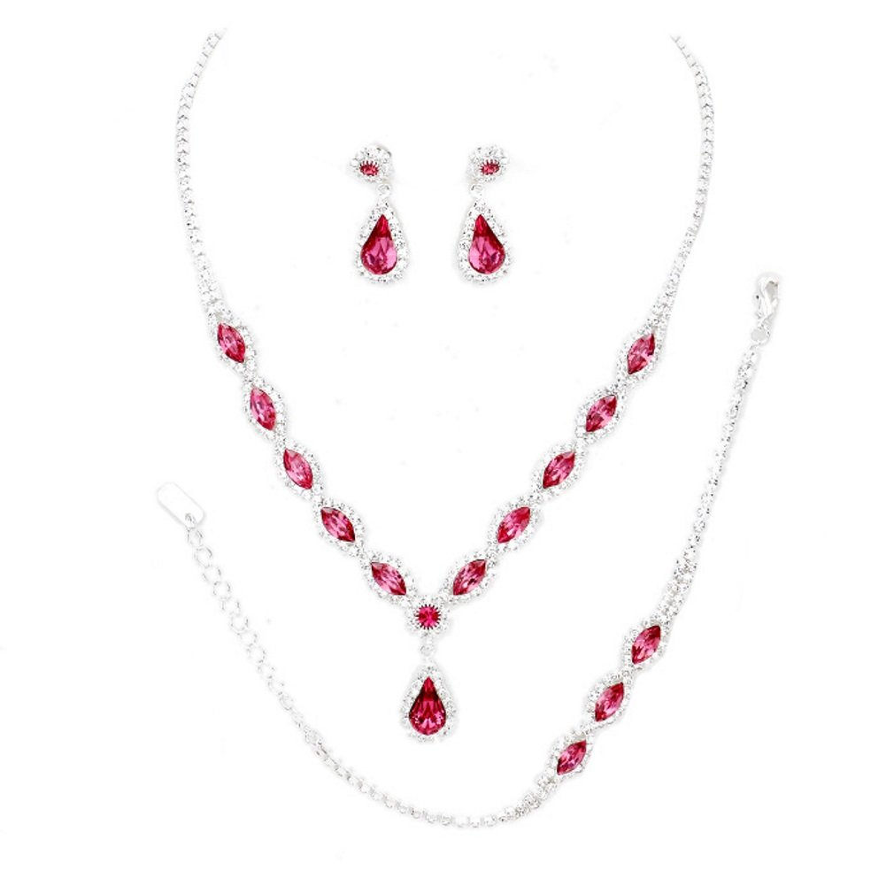 Christina Collection Affordable Wedding Jewelry Clear Oval Teardrop Rhinestone Elegant Drop Set 3 Pcs Bracelet Earrings Necklace Set (Pink)