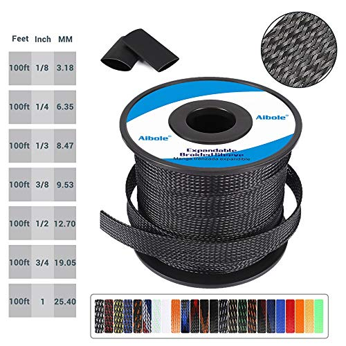 100ft Braided Cable Sleeve 1/8 inch Nylon Expandable Braided Cable Sleeving for TV, Audio, PC Cords,PureBlack