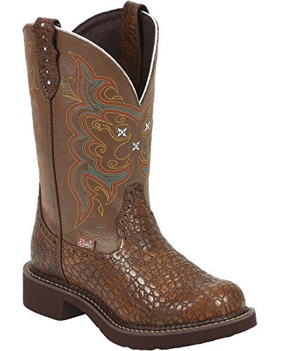 "Justin Boots Women's Gypsy Collection 11"" Boot Fashion Round Toe Brown Rubber Outsole,Brown Pearl Print Cowhide/Brown Cow with Diamond Cut Pull Strap,5 B US"