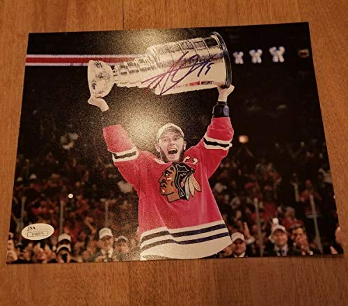 Jonathan Toews Autographed Signed Memorabilia Photograph Chicago Blackhawks Red Jersey COA JSA