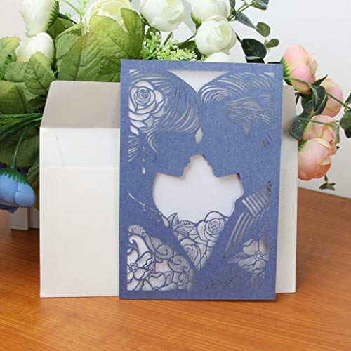 BROSCO 10pcs Set Laser Cut-Out Couple Design Wedding Invitations Cards with Envelopes | Color - Blue