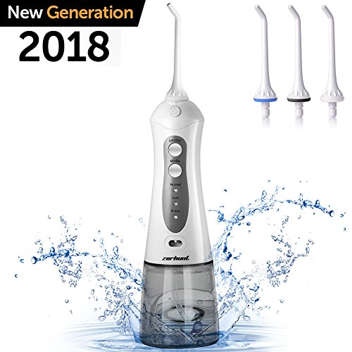 Zerhunt Cordless Water Flosser Teeth Cleaner - High Plus Rechargable Portable Oral Irrigator For Travel, IPX7 Waterproof Dental Water Jet For Shower With 3 Interchangeable Jet Tips - Choose Adapter Finish