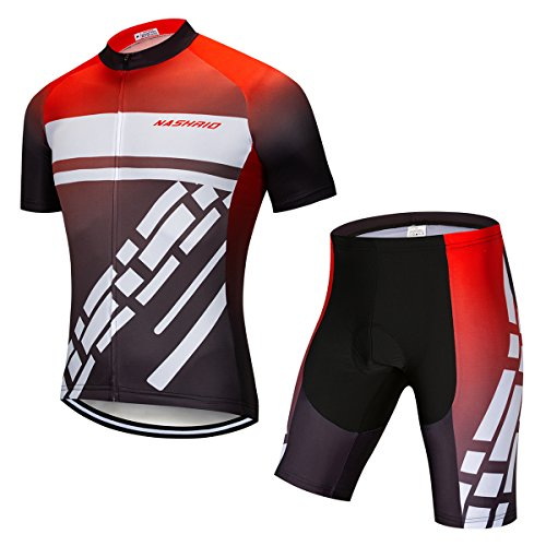 (NASHRIO Men's Cycling Jersey Set Road Biking Short Sleeves Kit with 4D Padded Gel Clothing Full Zipper Closure Bicycle Quick-Dry Breathable Sports Gear Assorted Color Patterns - Ideal Gift Idea)