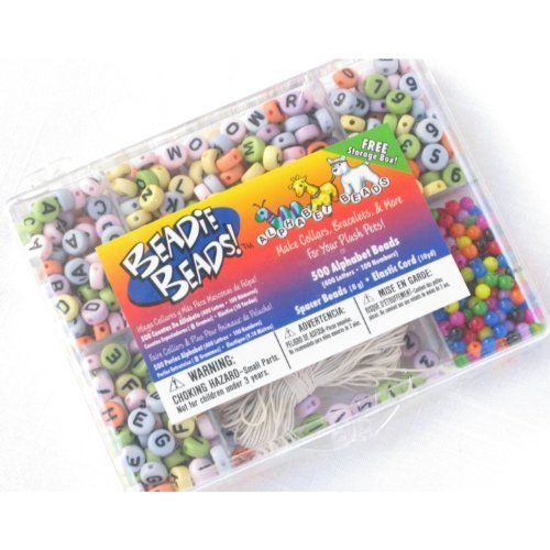 Beadie Beads Kit for Kids (Includes 500 Multicolor Letter/Number Beads, Spacer Beads and 10 Yds Elastic Cord)