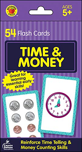 Carson Dellosa - Time and Money Flash Cards - 54 Cards for Telling Time on Digital and Analog Clocks, Counting Money, Reading Numbers, Ages 5 and up (Brighter Child Flash Cards) (First Grade Addition Flash Cards)