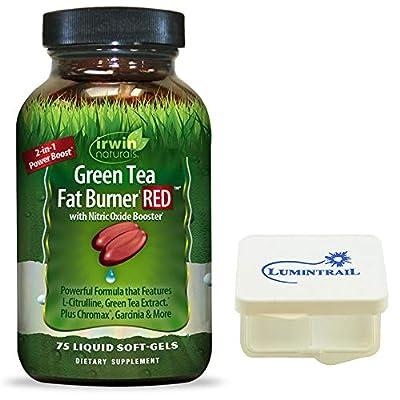Irwin Naturals Green Tea Fat Burner RED Nitric Oxide 2 in 1 Boost - 75 Liquid Soft-Gels - Bundle with a Lumintrail Pill Case