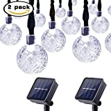 String Lights Outdoor Lalapao 2 Pack Solar Powered Globe String Lights 30 LED 19.7ft Crystal Ball Christmas Fairy String Light for Outdoor Xmas Tree Garden Path Patio Home Lawn Holiday Wedding Decor Party (White)