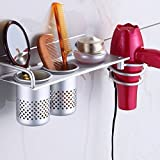 3 in 1 Hair Dryer Holder Rack LinkStyle Hair Dryer Organizer Shelf Stand Wall Hair Dryer Rack Hair Blow Dryer Holder Bathroom Washroom Organizer Rack Collection Storage with 2 Cups - Space Aluminum