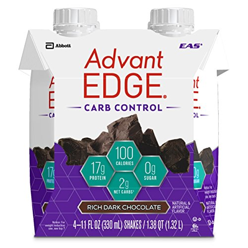 EAS AdvantEDGE Carb Control Ready-to-Drink Protein Shake, 17 grams of Protein, Rich Dark Chocolate, 24 Count (Packaging May Vary)