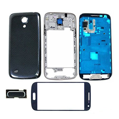 Full Housing Front Frame Middle Bezel Cover Case with Touch Screen Glass Lens Replacement Repair Spare Part for Samsung Galaxy S4 Mini I9190 I9195 (Black) ()