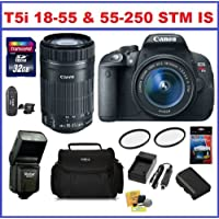 Canon Rebel T5i Digital SLR Camera with 18-55mm EF-S IS STM & EF-S 55-250mm F4-5.6 IS STM Lenses + 32GB SDHC Memory Card, Deluxe Camera Bag, Card Reader, Extra Battery, Travel Charger, 58mm UV Protection Filters, External Flash, Lens Cleaning Kit and Screen protector At A Glance Review Image