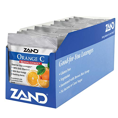 Zand HerbaLozenge Orange C | Vitamin C Lozenges w/Herbal Extracts for Soothing Throat | No Corn Syrup, Cane Sugar or Artificial Colors | 15ct, 12 Bag