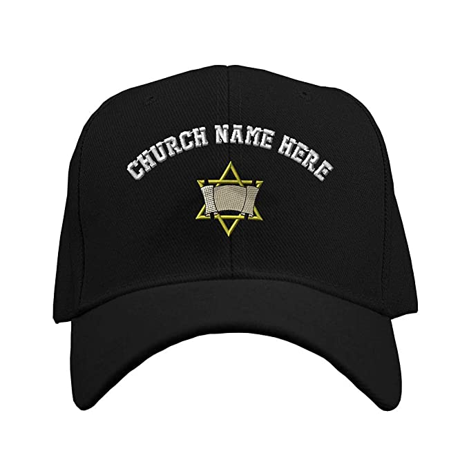 ee7ddfd8bf0a5 Speedy Pros Baseball Hat Jewish Torah Design Embroidery Church Name Acrylic  Structured Cap Hook   Loop