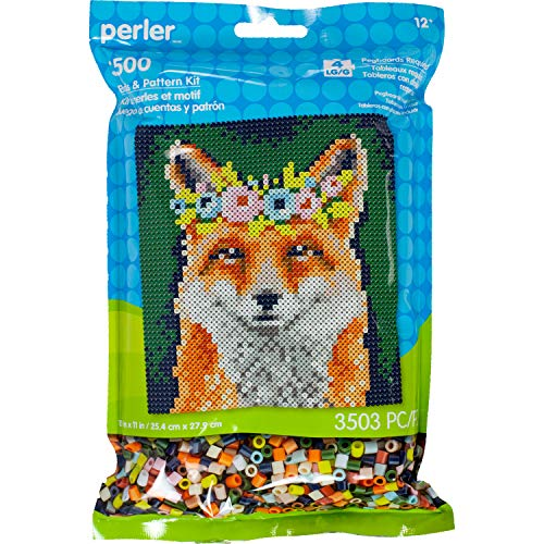 Floral Fusion Square (Perler Beads Floral Fox Pattern & Fuse Bead Kit, 10'' X 11'', 3503Pc)