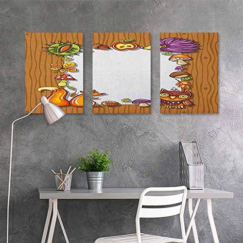 HOMEDD Canvas Print Artwork,Kids Thanksgiving Seasonal Frame with Natural Elements Acorns Hedgehog Squirrel,Modern Decorative Artwork 3 Panels,24x47inchx3pcs Pale Brown Multicolor