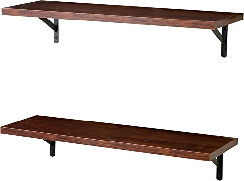 SUPERJARE Wall Mounted Floating Shelves, Set of 2, Display Ledge, Storage Rack for Room Kitchen Office – Walnut