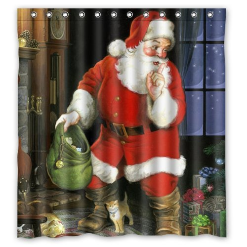 Shower Curtain Artistic Designer From Mr Kill Designs Stylish, Decorative, Unique, Cool, Fun, Funky Bathroom - 66(W)x 72(H) Funny Santa Claus Happy Merry Christmas